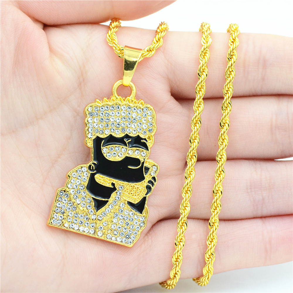 New hiphop jewelry men necklace Simpson dripping oil pendant Sunglasses Necklace фото