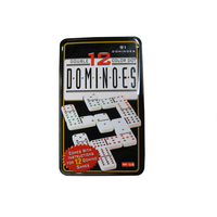 Double 12 plastic domino with tin box