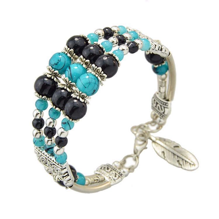 Redblue Circle: Bohemian Silver Color Imitation Turquoise Beads Chain