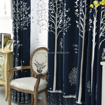 Factory Sell Cheap Price Silver Tree Forest Scenery Design Blackout Window Curtain Fabric