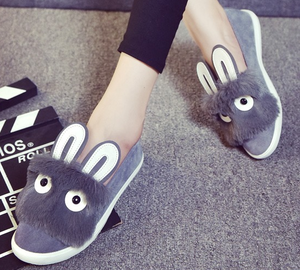 Hotsale woman casual shoes Korean lovely rabbit ear lady flat fancy new shoes