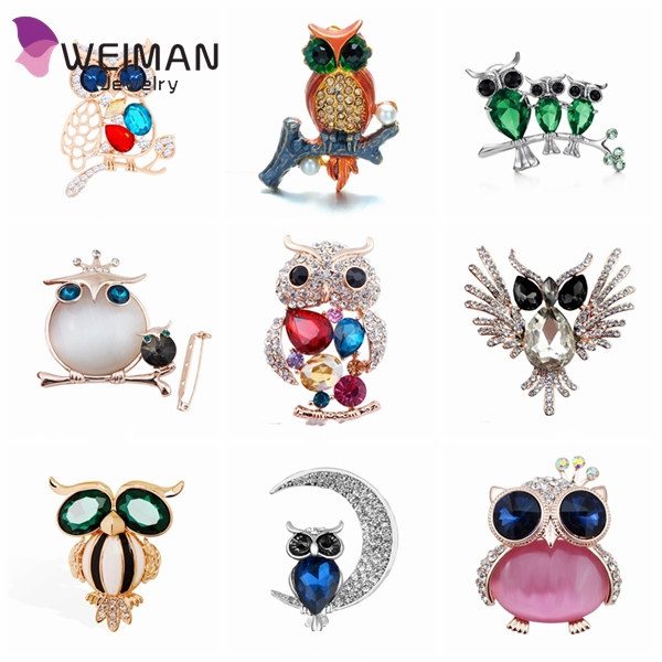 Rhinestone colorful Large Owl Brooches and Pins Gift for Scarves Women wedding Fashion animal brooches Jewelry Brand