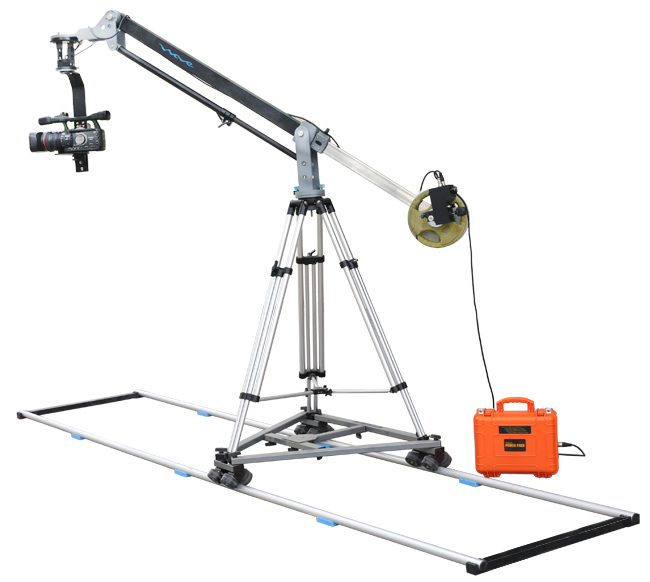 Proaim Elite Camera Jib package (7ft Wave Jib with 100mm Bowl Stand (TP-100), Junior-D Pan Tilt head, Swift Dolly, 12ft Straight