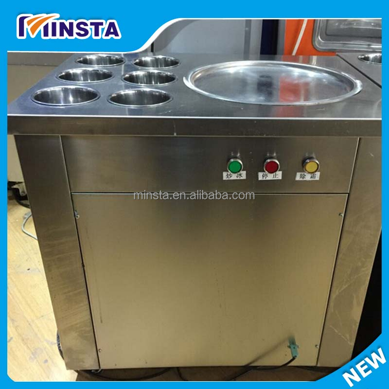 type factory supply rolled ice cream making machine one pan with six pans