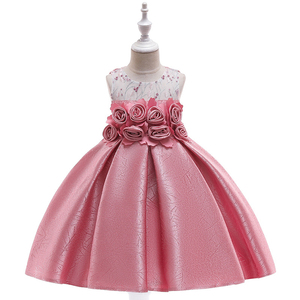 Latest flower handmade embroidery frock evening party elegant kids prom dress