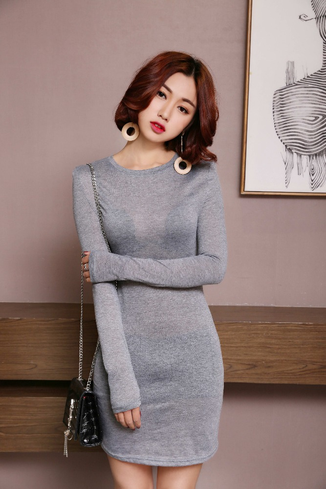 Blank Wholesale Long tight fit Cotton t shirt Dress for women