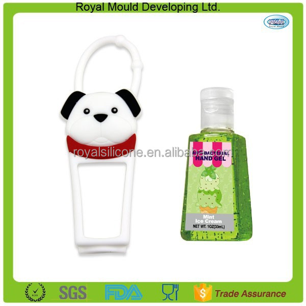 Cute animal style white dogs shaped silicone hand sanitizer holders bottle holder