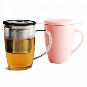 Christmas Gift Borosilicate Glass Tea Mug Ceramic Infuer Mug Tea Cup With Infuser & Handle