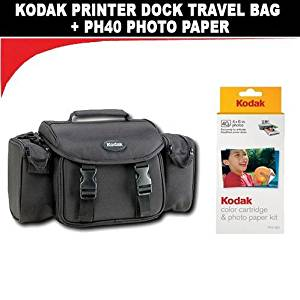 Kodak Travel Bag for Printer Dock G610 + Kodak PH40 Color Cartridge & Photo Paper Kit for Kodak EasyShare Printer Docks