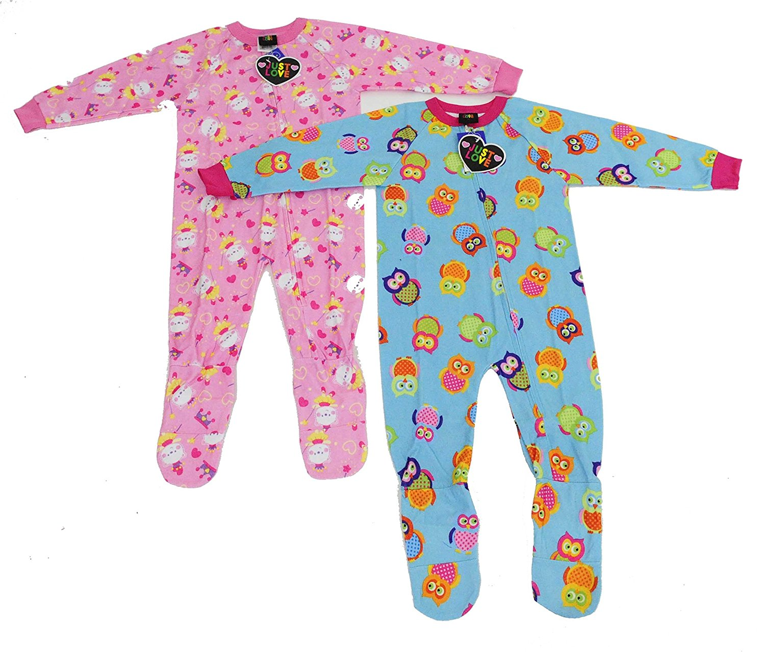Get Quotations · Just Love Girls Footed Pajamas   Flannel Blanket Sleepers ( Pack of 2) b808c89b8