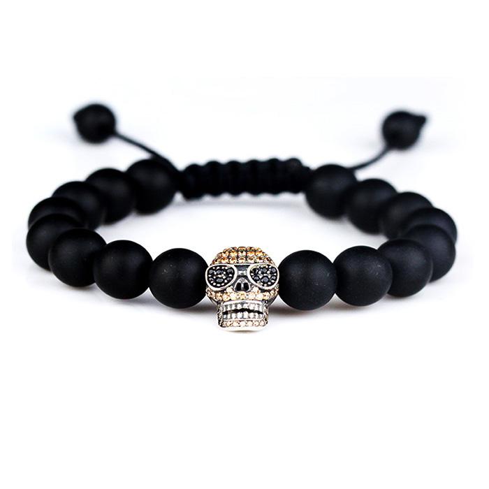 Natural matte agate stone bead bracelet, skull charm bracelet beads men фото