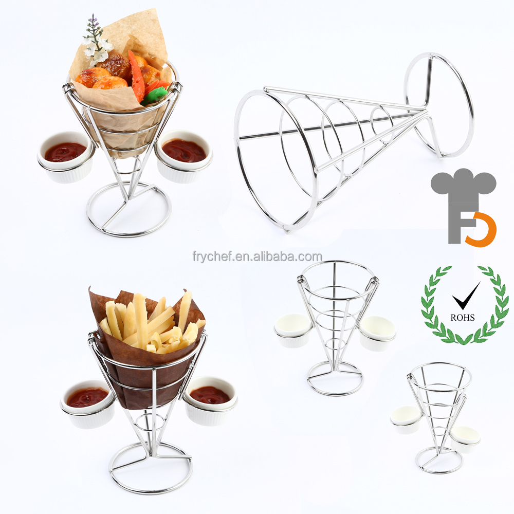 French Fry Stand Cone Basket Holder by Cobble Creek for Fries Chips Appetizers F0065