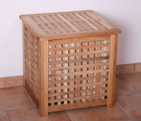 solid oiled walnut laundry basket with cotton bag