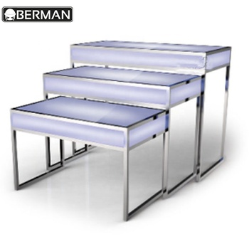 Restaurant Equipment Kitchen Table Et Chaise Occasion Acrylic Led Lighted Stainless Steel Mirror Dining Buffet