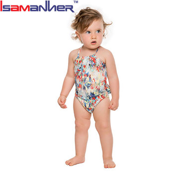 Back ruffle halter plus size pretty baby girls swimsuits