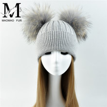 2017 Fashionable Ladies Knit Real Fur Winter Hat Beanie Pom / Women Sex Pom Beanie Hat with Two Balls