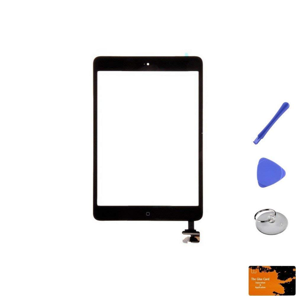 Digitizer & IC Connector (Pre-Soldered with Adhesive & Resistors) for Apple iPad Mini (Black) & Glue Card, Suction Cup, Tri Pri, Cross Pry Tools