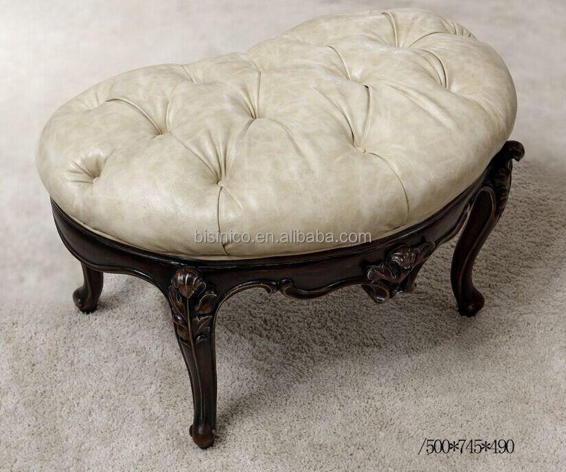 Klassische Weiße Farbe Handgeschnitzt Massivem Holz Hocker/oval Ottomane,  Button Getuftet Stoff Schlafzimmer Bank