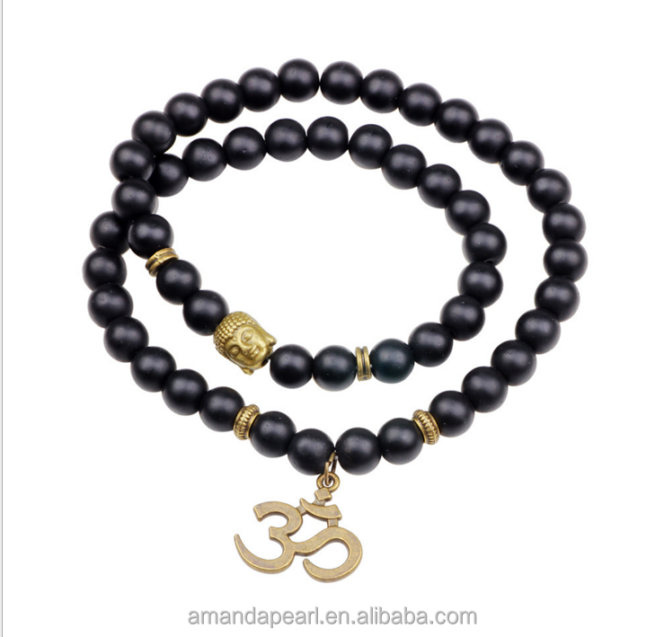 Black Matte Agate Beads with Buddha Head Long Twining 3D Letter Charm Wrap Buddha Bracelets