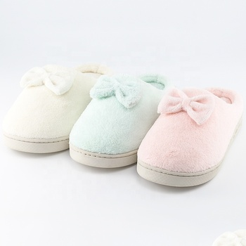 Yelbo woman pvc slippers or ladies coral fleece bowknot custom room indoor outdoor Winter pvc slipper