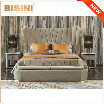 Italy New Design Luxury Post Modern Bedroom Furniture King Size Bed Elegant Beige Fabric