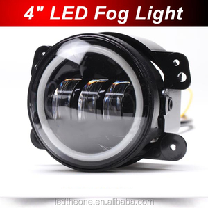 "2016 Bright 30W 4"" round angle eyes halo ring led fog light with DRL running light daytime fog lamp for Jeep wrangler Toyota"