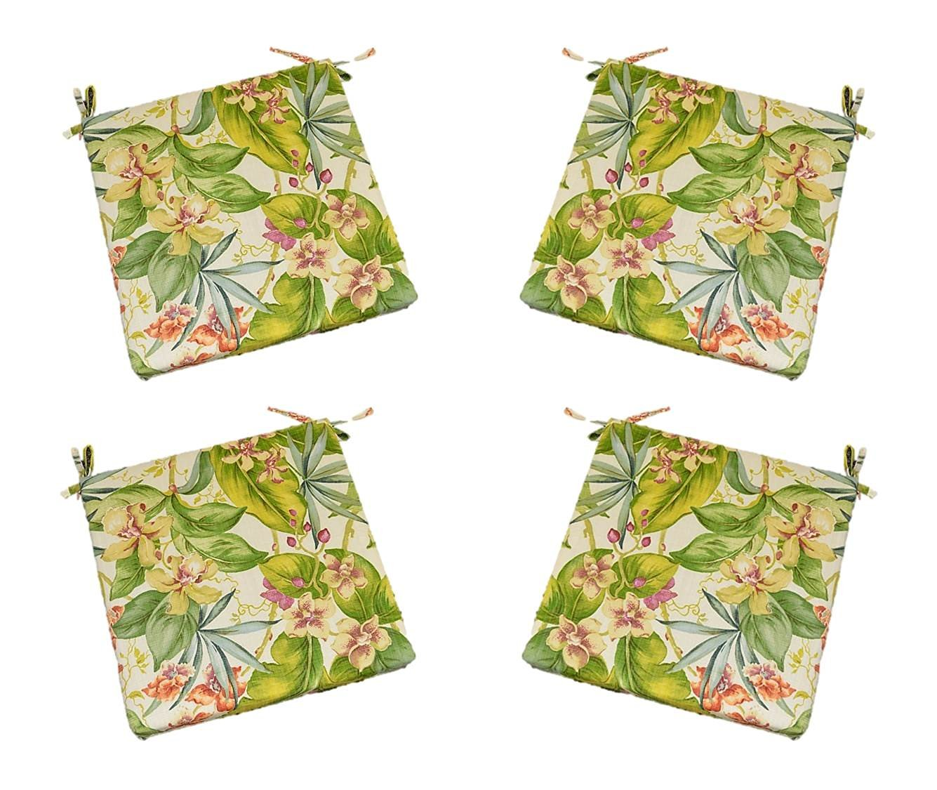"Set of 4 - Indoor / Outdoor Tommy Bahama Fresco Floral - Pink, Green, Orange, Ivory Tropical Floral Fabric Universal 2"" Thick Foam Seat Cushions with Ties for Dining Patio Chairs - Choose Size (19 1/2"" x 18 1/2"")"