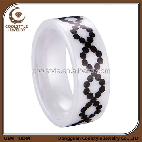 Hot style bridal jewelry rings white ceramic infinit ring in wholesale price