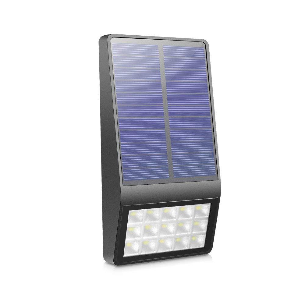 AIMENGTE Led Wall Light Solar, Microwave Radar Motion Sensor Street Light, 550lm 15 LEDs Security Lights, IP65 Waterproof 2835 SMD Step Light For Patio, Garage, Yard, Garden, Stair etc. (Black Shell)