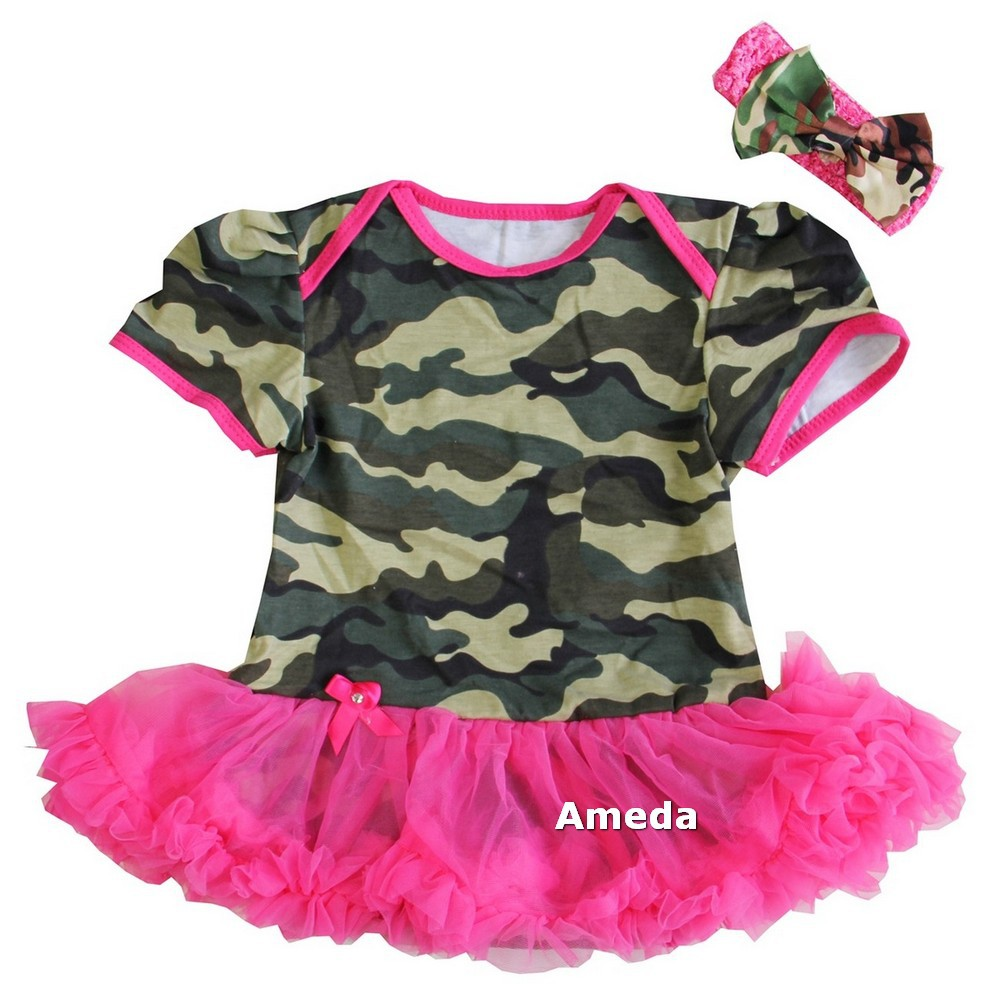 a223577b6fdbb Get Quotations · Baby Camouflage Hot Pink Tutu Bodysuit Tutu Romper Party  Dress and Matching Camo Headband