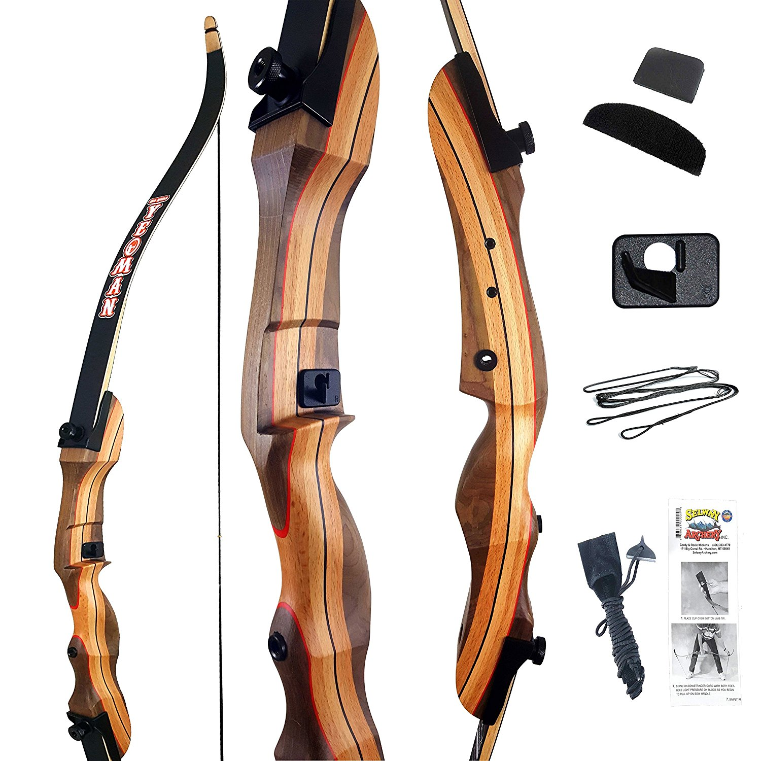 Archery Recurve Takedown Bow for Adults Sets 45LBS Hunting Target Outdoor Sports