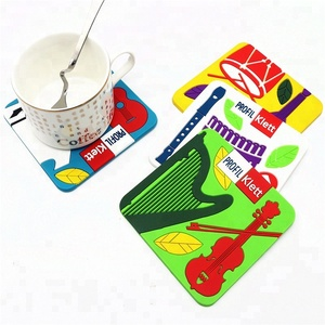Colorful custom logo coffee cup anti-slip soft pvc rubber coaster