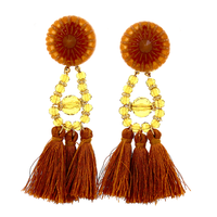 EthnicJewelry Girls Long Acrylic BrownTassel Beaded Studs Earrings For Women