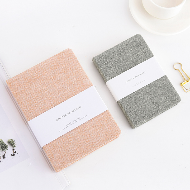 M112 Wholesale printing biodegradable ecological stitched craft handmade fabric cover linen notebook