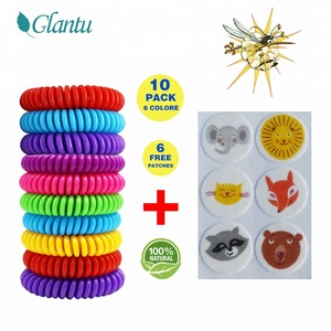 10pcs pack with 6 FREE PATCHES- Deet free anti mosquito band insect repellent bracelet the bug banned