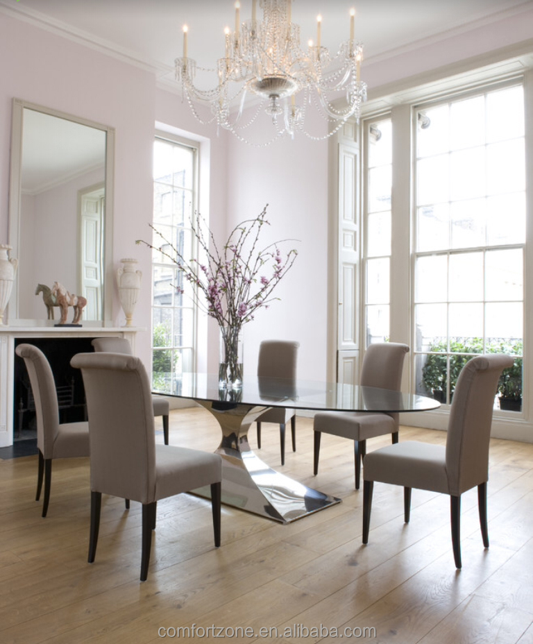 A8087 Reduced Designs Strong Frame Oval Glass Top Dining Table For Family -  Buy Glass Top Round Dining Table,Glass Top Stainless Steel Frame Dining ...