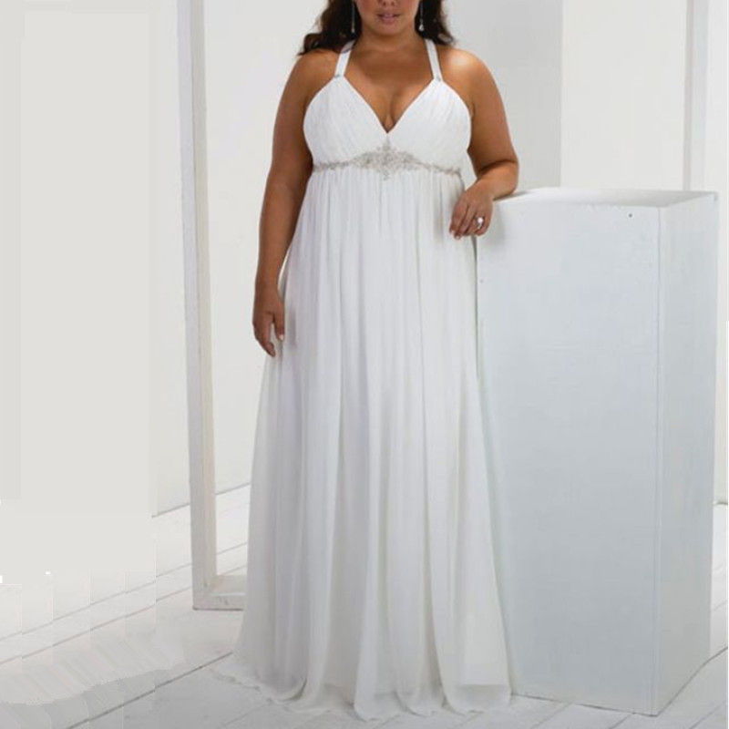 White Chiffon Large Size Wedding Gown With Beading High