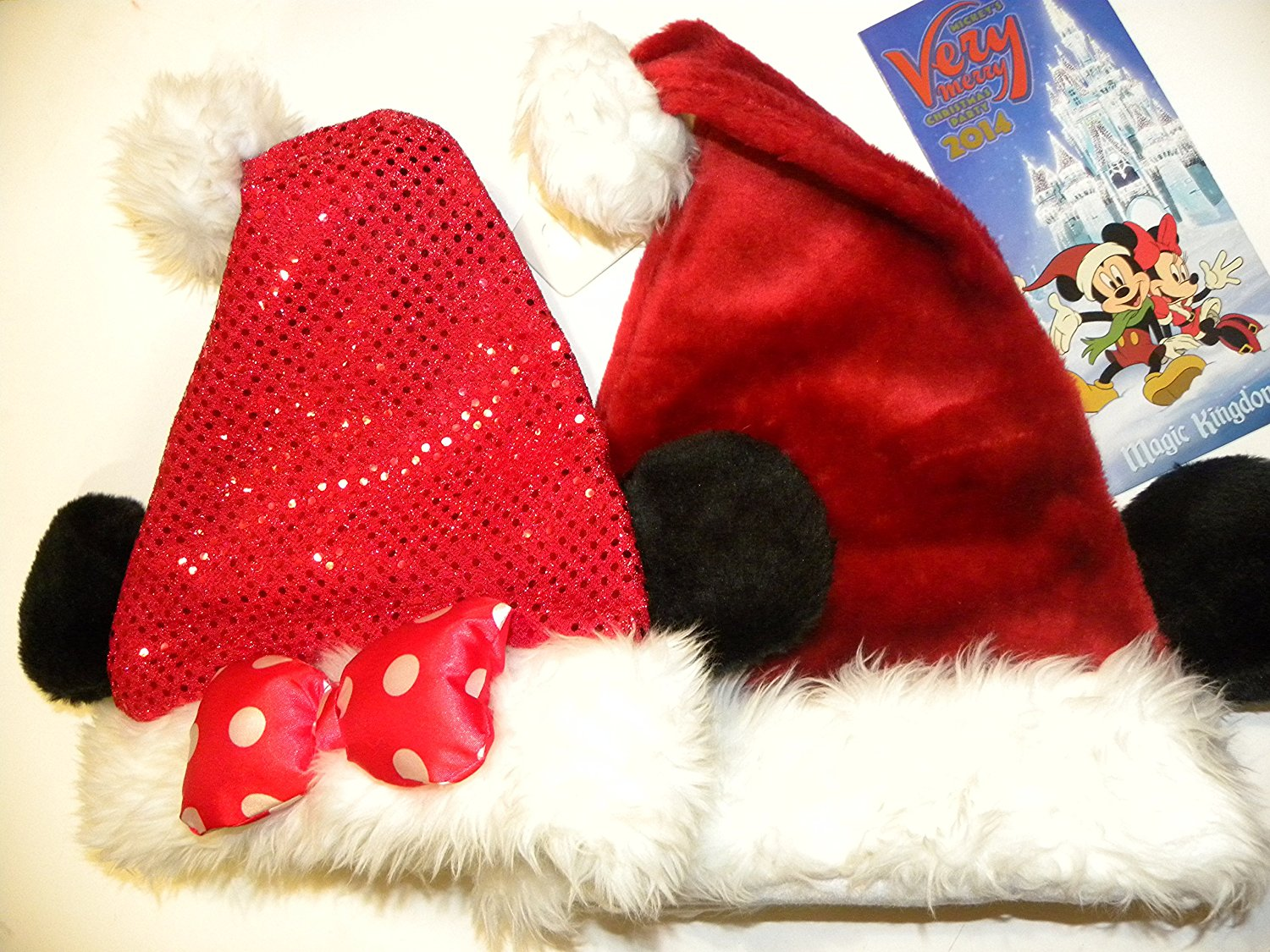 Get Quotations · Disney Park Christmas Mickey Minnie Mouse Ears Santa Hat  Party Map Bundle fa419f1c3351