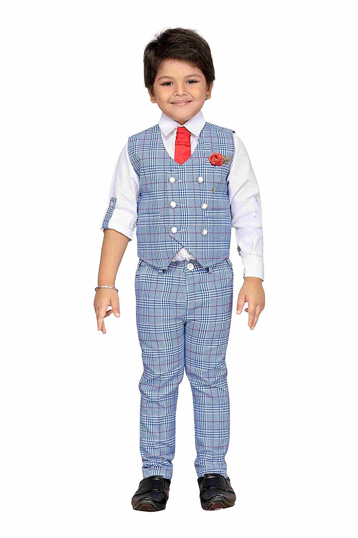 ace239bc0 AJ Dezines Kids Indian wear Bollywood Style Shirt Waistcoat and Pant Clothing  Set for Boys