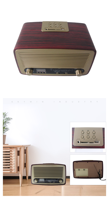 2018 ที่มีคุณภาพสูงแบบพกพาไม้วินเทจ am วิทยุ fm พร้อม USB SD เครื่องเล่น MP3