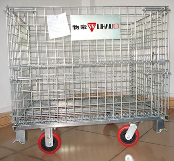 industrial stackable foldable warehouse wire mesh cages