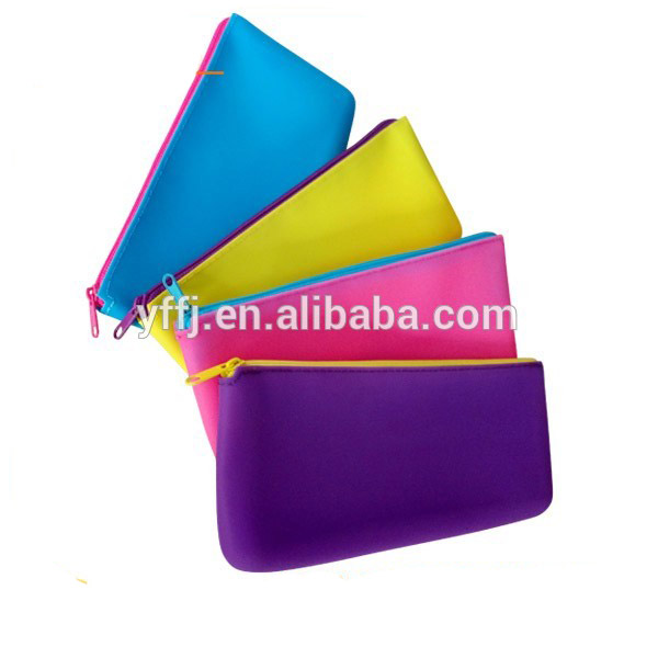 Silicone Gel Pencil Case Coin Purse Bag Wallet Pouch Keychain Bag Storage Cosmetic Bag