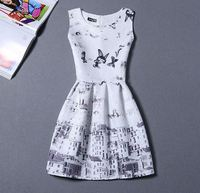 Seller factory walson C71378A Casual Dress House Pattern Print Party White Dress Sleeveless O Neck Mini Summer Vestidos Women Dr
