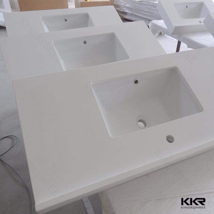 Customized Artificial Stone White Sparkle Quartz Vanity Top