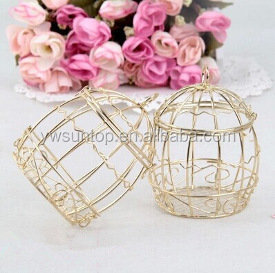 2016 just arrival simple cage bird box gold unique candy box wholesale