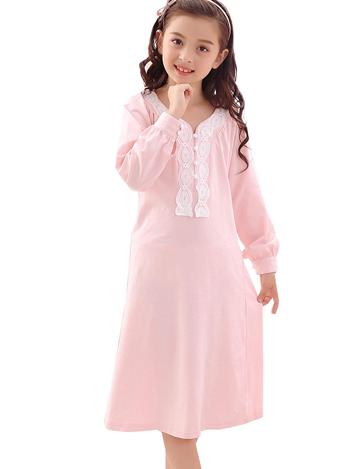 Get Quotations · PUFSUNJJ Little Girls Princess Pink Lace Cotton Nightgown  Sleepwear Dress Pajamas Toddler 3-8 Years 4ff177eee