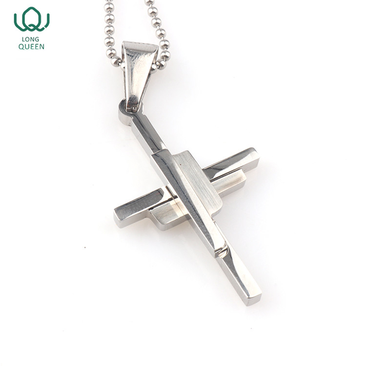 Custom simple design cross pendant long necklace