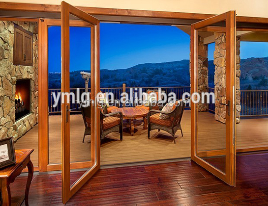 Ancient Design Wood <strong>Grain</strong> Finished Aluminum Glass Folding Door For Sale