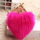 Newest English Heart shapes pattern real fox fur pom poms key ring puffy faux rabbit fur pom pom ball keychain