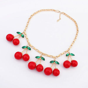 Lovely cherry design 14 K gold plated kids bead jewelry 2015 new fashion choke chunky metal necklaces PN1960